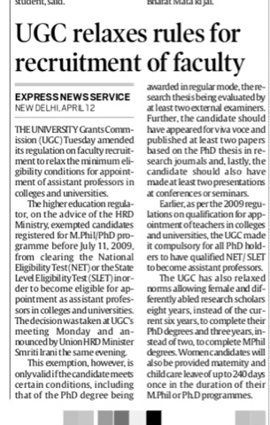 UGC relaxes rules for recuritment of Faculty